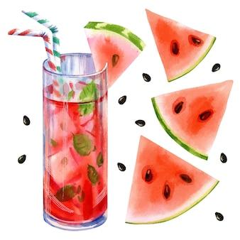 Hand getekende vector aquarel illustratie van zomer limonade cocktail met watermeloen en munt