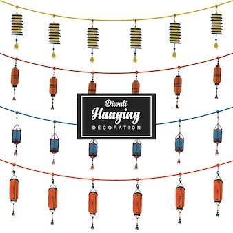 Hand getekende vector hangende snaren ontwerpen