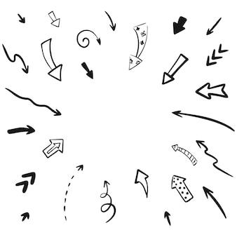 Hand getekende vector pijl set collectie. iillustration geïsoleerd op een witte achtergrond.