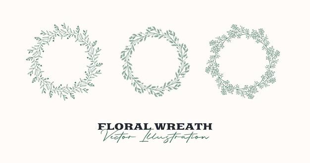Hand getekende vector ronde frame bloemen krans met bladeren bessen takken