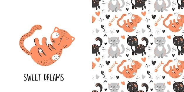 Hand getekende vector set katten cartoon afbeelding in pastel kleuren naadloos patroon