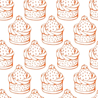 Hand getekende vector van naadloze patroon met kerst desserts taarten snoep