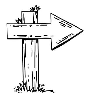 Hand getekende vector wegwijzer houten richting