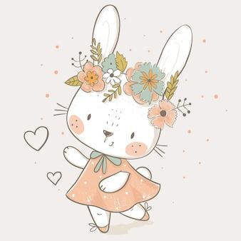 Hand getekende vectorillustratie van schattig konijntje meisje met cirkel van bloemen kan worden gebruikt voor kinderen