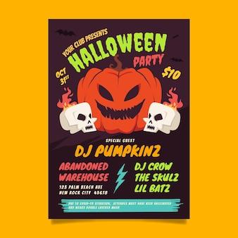 Hand getekende verticale halloween-feest folder sjabloon