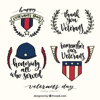 Hand getekende veteranen dag etiketten