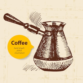 Hand getekende vintage koffie achtergrond