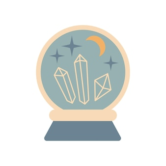 Hand getekende vintage magische kristallen bol toekomst met edelstenen, maan, sterren geïsoleerd op een witte achtergrond. boho chique vectorillustratie. ontwerp voor poster, print, kaart