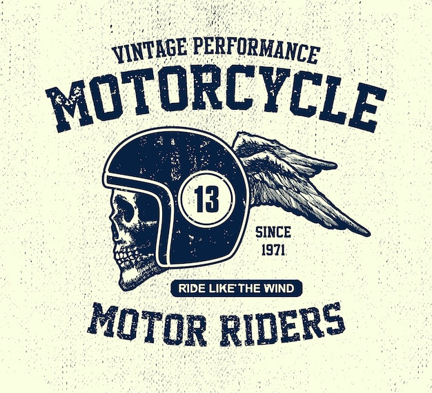 Hand getekende vintage motorfiets