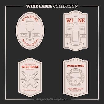 Hand getekende vintage wijnetiketten