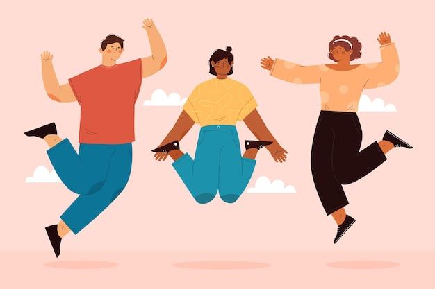 Hand getekende vlakke afbeelding van gelukkige mensen springen