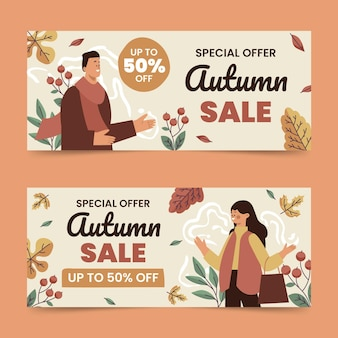 Hand getekende vlakke horizontale herfst verkoop banners set