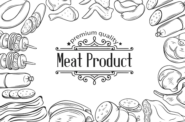 Hand getekende vleesproduct poster