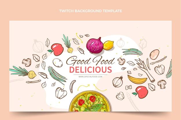 Hand getekende voedsel twitch achtergrond