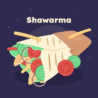 Hand getekende voedzame shoarma illustratie