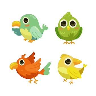 Hand getekende vogel collectie