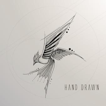 Hand getekende vogel
