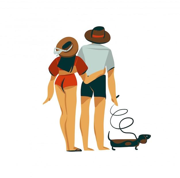Hand getekende voorraad abstracte grafische vlakke afbeelding met jonge romantische paar wandelen op het strand met hond geïsoleerd op een witte achtergrond