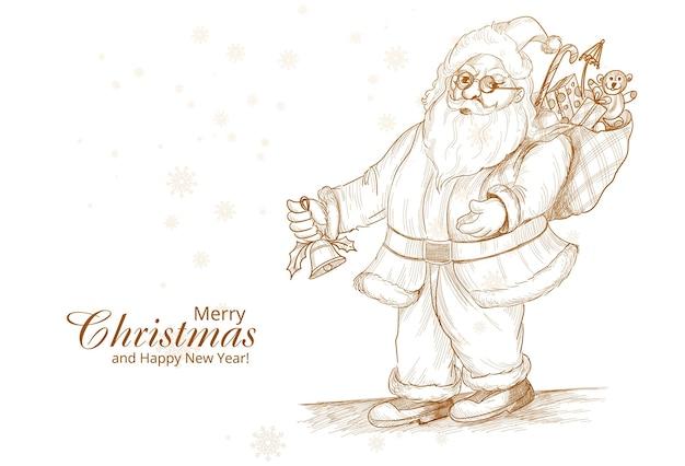 Hand getekende vrolijke kerstman schets kaart