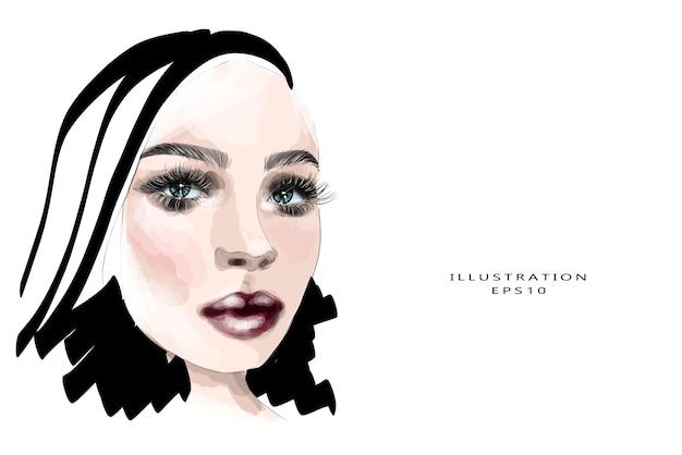 Hand getekende vrouw gezicht schets