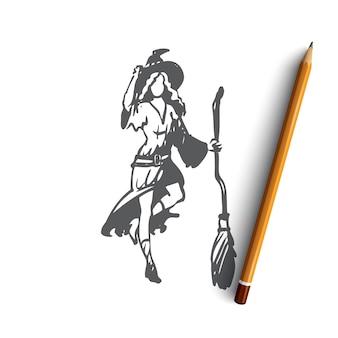 Hand getekende vrouw in heks kostuum