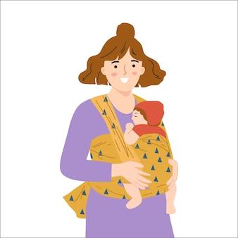 Hand getekende vrouw met haar pasgeboren baby