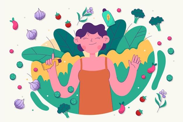Hand getekende vrouw met veganistische producten