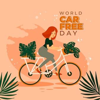 Hand getekende wereld autovrije dag