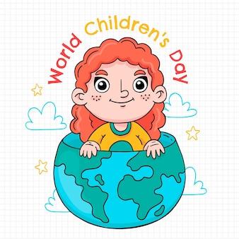 Hand getekende wereld kinderdag illustratie