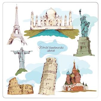 Hand getekende wereld monumenten collectie