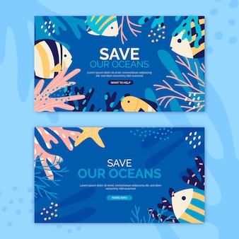 Hand getekende wereld oceanen dag banner