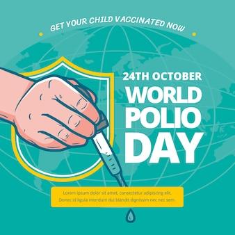 Hand getekende wereld polio dag illustratie