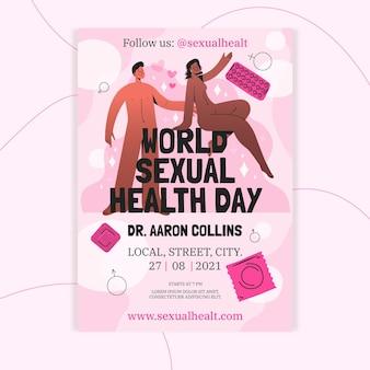 Hand getekende wereld seksuele gezondheid dag flyer sjabloon