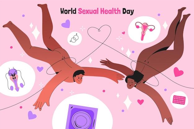 Hand getekende wereld seksuele gezondheid dag illustratie