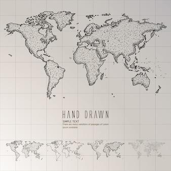 Hand getekende wereldkaart