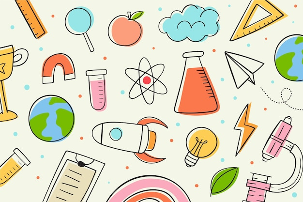 Hand getekende wetenschap achtergrond