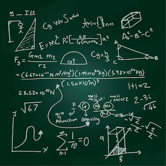 Hand getekende wetenschappelijke formules op blackboard