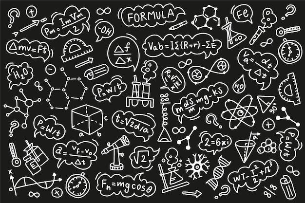 Hand getekende wetenschappelijke formules op schoolbord