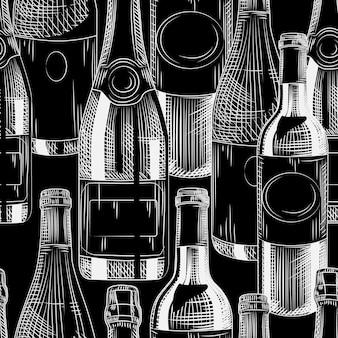 Hand getekende wijnflessen naadloze patroon op zwarte achtergrond. verschillende wijn achtergrond. graveerstijl. vector illustratie