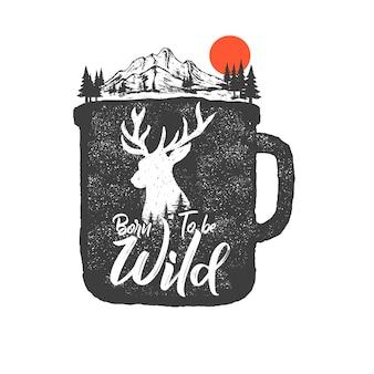 Hand getekende wildernis badge met berglandschap en inspirerende belettering