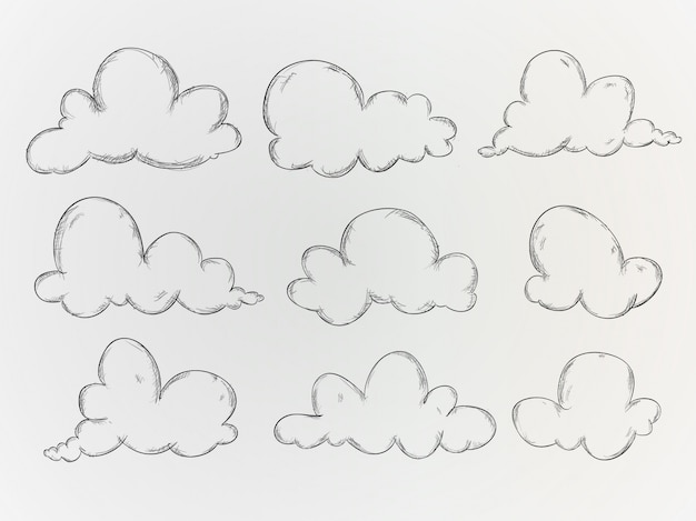 Hand getekende wolken verzamelen