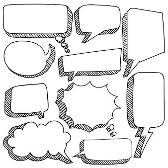 Hand getekende zeepbel toespraak in doodle stijl geïsoleerd op een witte achtergrond