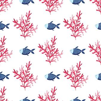 Hand getekende zeewier, koraal naadloos patroon. zee planten achtergrond. vector illustratie