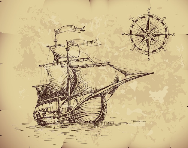 Hand getekende zeilboot en kompas op oud papier.
