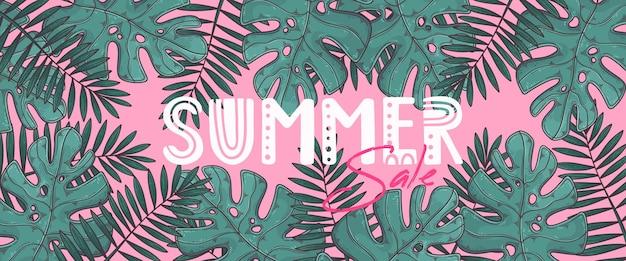 Hand getekende zomer banner