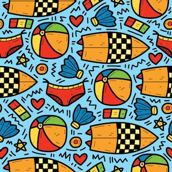Hand getekende zomer cartoon schattig doodle patroon