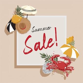 Hand getekende zomer verkoop banner strand element accessoires