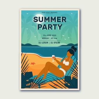 Hand getekende zomerfeest poster