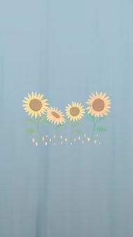 Hand getekende zonnebloem mobiele telefoon behang vector
