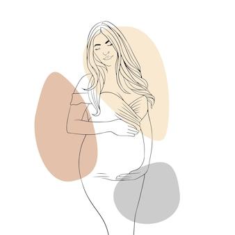 Hand getekende zwangere moeder voor moederdag lijn kunststijl f